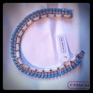 NWT Coach Sterling Silver/Blue Bracelet